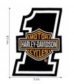 Harley Davidson Orange Bar & Shield Embroidered Sew On Patch