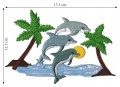 Dolphins in Tropical Scene Embroidered Sew On Patch