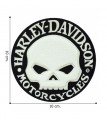 Harley Davidson Motorcycle Chenille Skull Embroidered Sew On Patch
