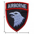 White Airborne Army Embroidered Sew On Patch