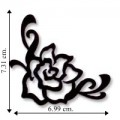Black Silhouette Cut Out Rose Embroidered Sew On Patch