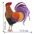 Colorful Rooster Embroidered Sew On Patch