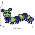 Cute Green & Purple Caterpillar Embroidered Sew On Patch