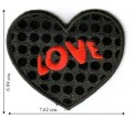 Black Sequin Love Heart Embroidered Sew On Patch