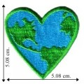 Blue-Green Earth Heart Embroidered Sew On Patch